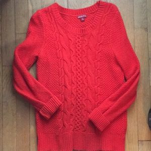 Bright orange cable knit sweater, work or holiday
